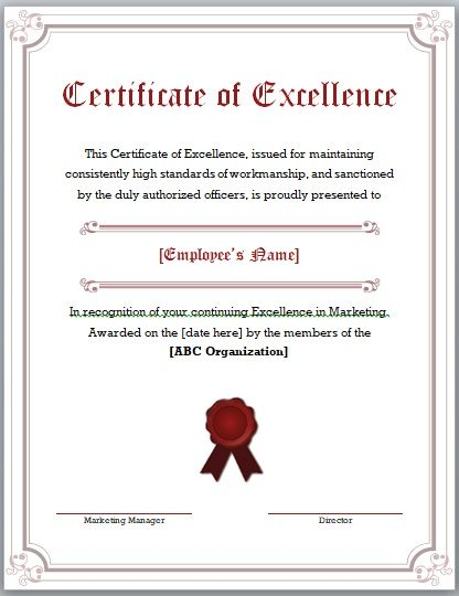 Certificate of Excellence Template 02