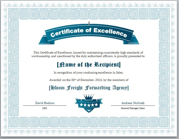 Certificate of Excellence Template 03