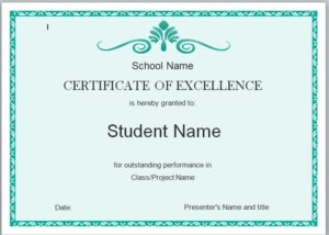 Certificate of Excellence Template 07