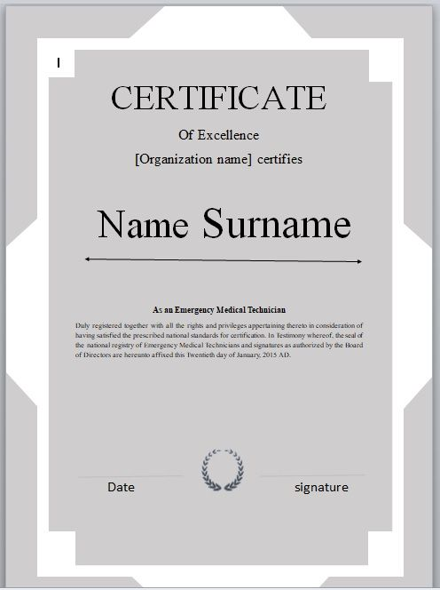 Certificate of Excellence Template 09