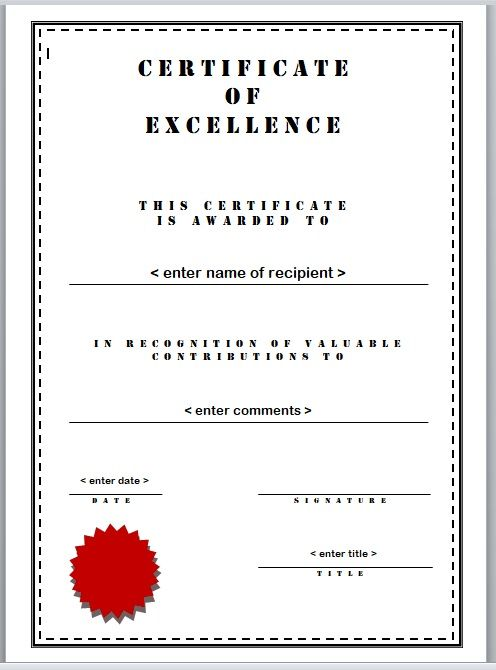 Certificate of Excellence Template 12