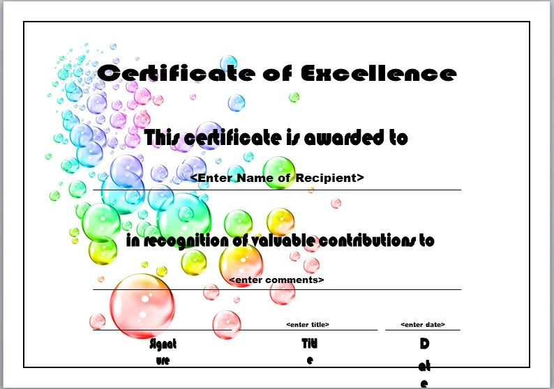 Certificate of Excellence Template 13