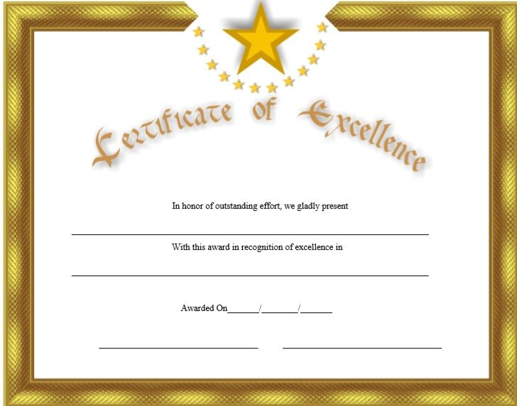 Certificate of Excellence Template 15