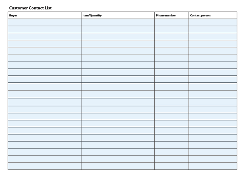 contact list template 12