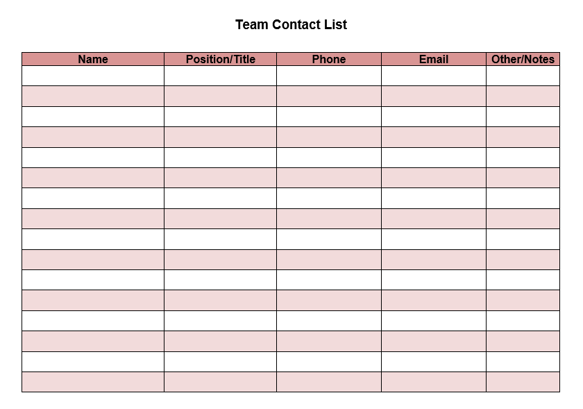 contact list template 14