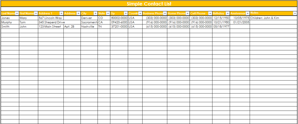 contact list template 15