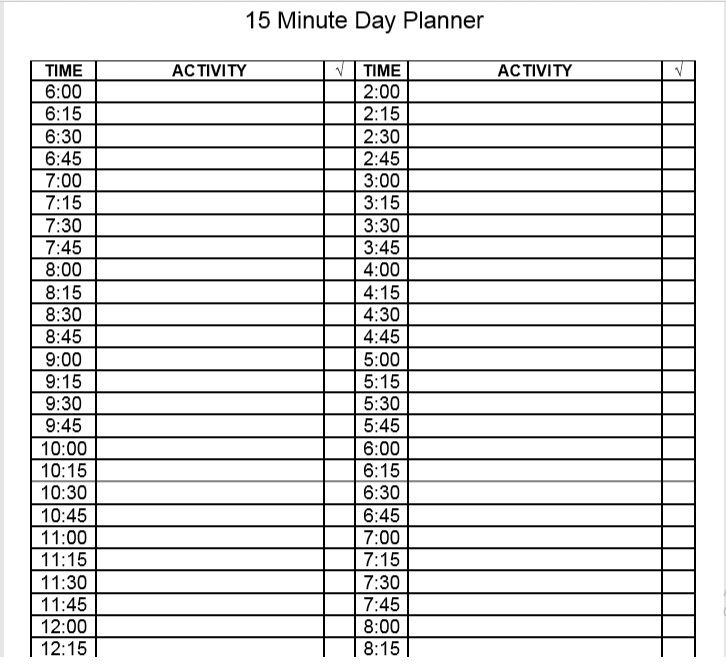 daily planner template 15