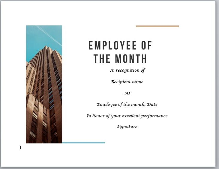 Employee of The Year Certificate Template 02