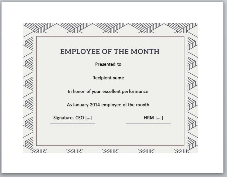 Employee of The Year Certificate Template 03