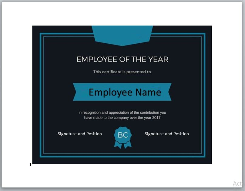 Employee of The Year Certificate Template 11