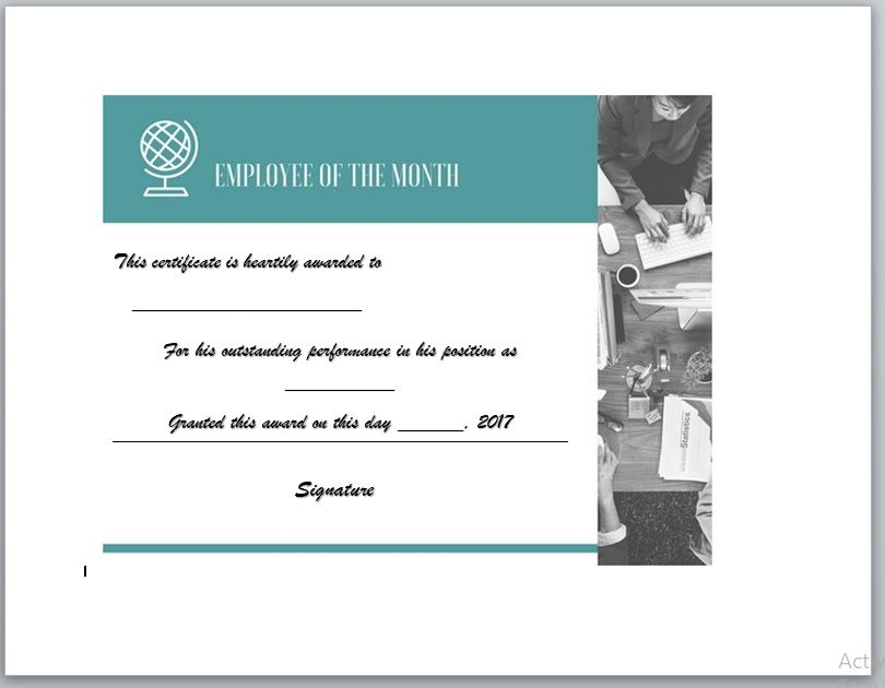 Employee of The Year Certificate Template 12