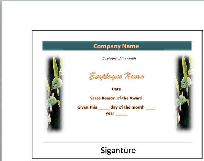 Employee of The Year Certificate Template 14