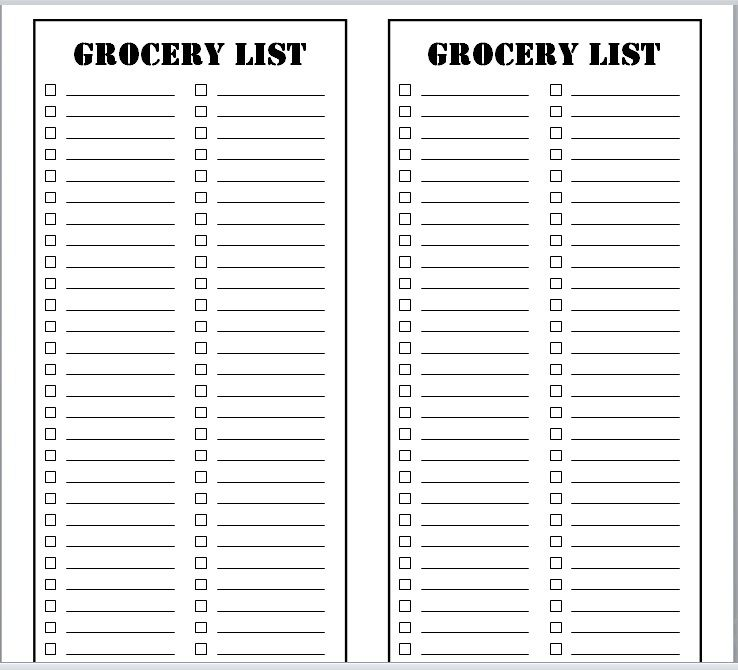 15 Free Grocery List Templates