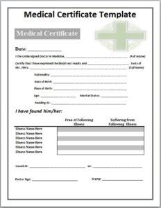 medical certificate template 01