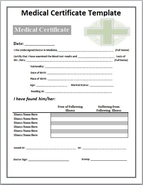 11 Free Medical Certificate Templates