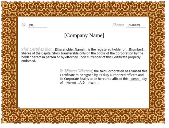 Stock Shares Certificate Template 02