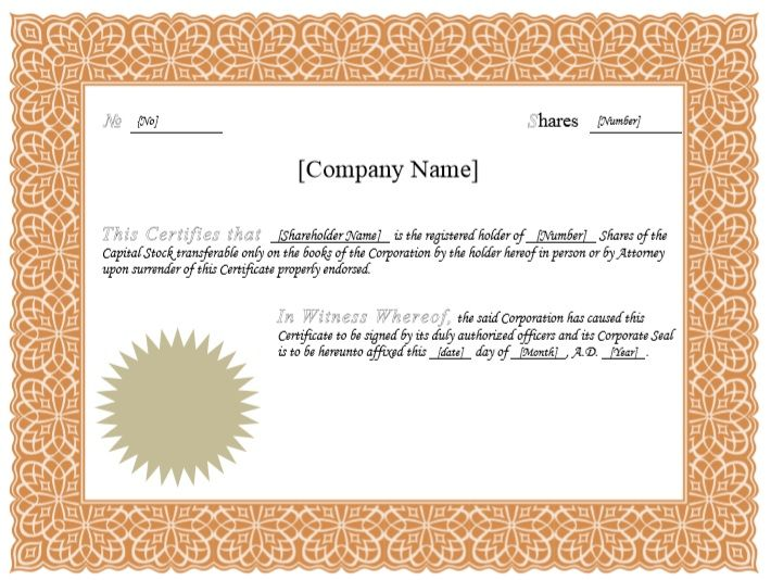 Stock Shares Certificate Template 03