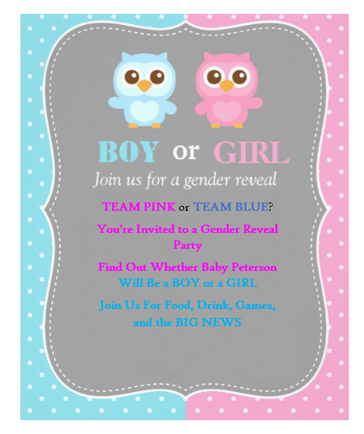 Gender Reveal Invitation Template 08