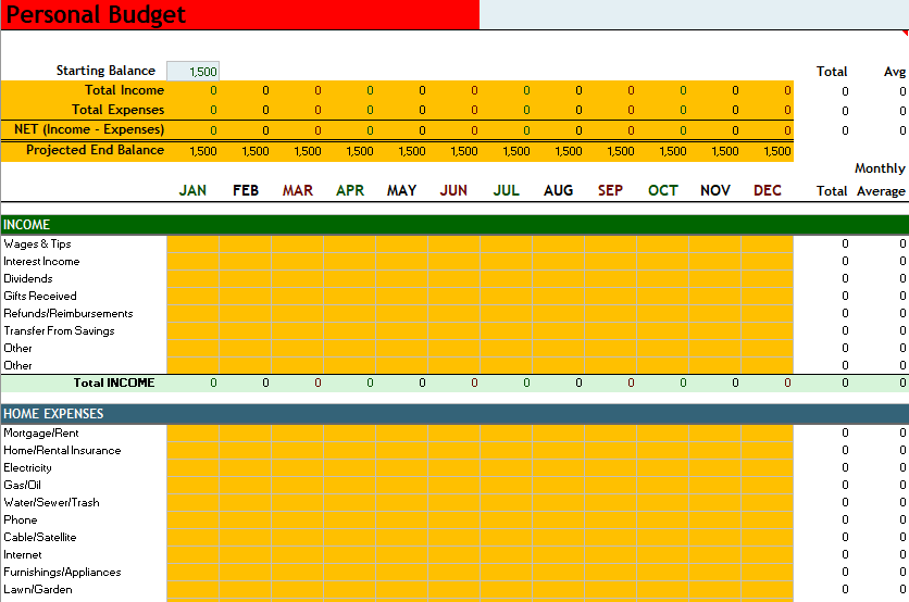 Personal Budget Template 03