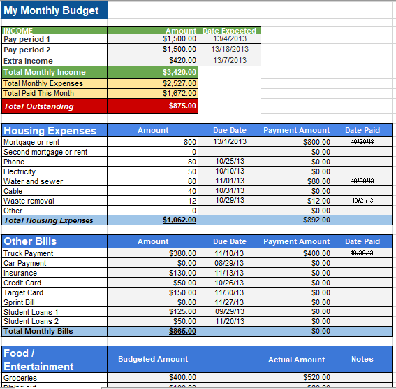 Personal Budget Template 06