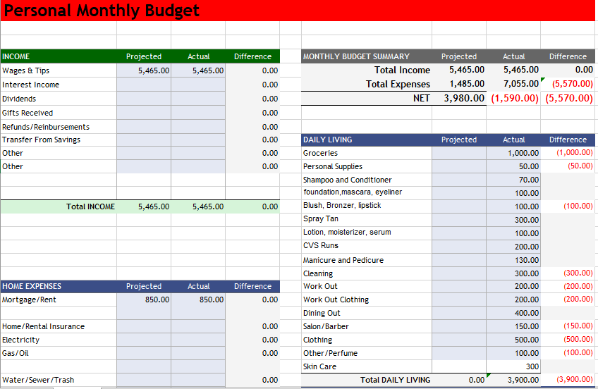 Personal Budget Template 12