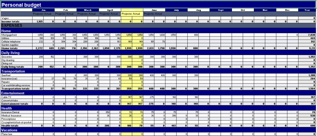 Personal Budget Template 13